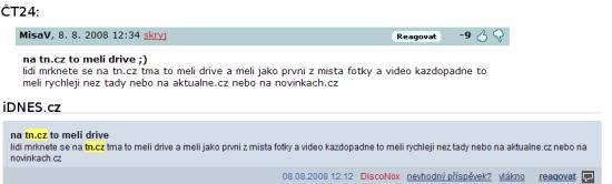 Spam TN.cz na konkurenčních serverech