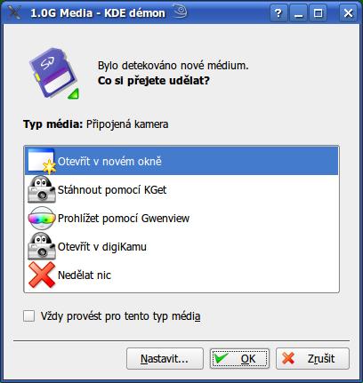 SD karta, openSUSE, automatická detekce