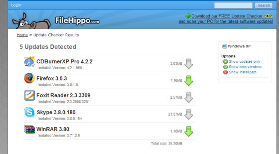 FileHippo aktualizace