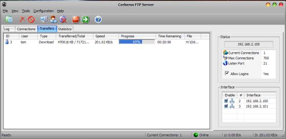 Probíhající přenos pomocí Cerberus FTP