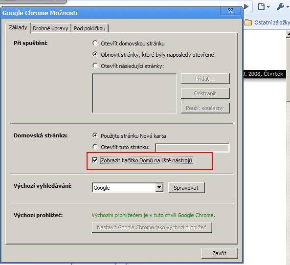 Aktivujte tlačítko Domů v Chrome
