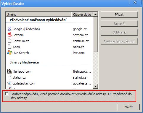 Vypněte našeptávač v Chrome