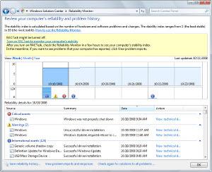 Windows 7 - monitor spolehlivosti