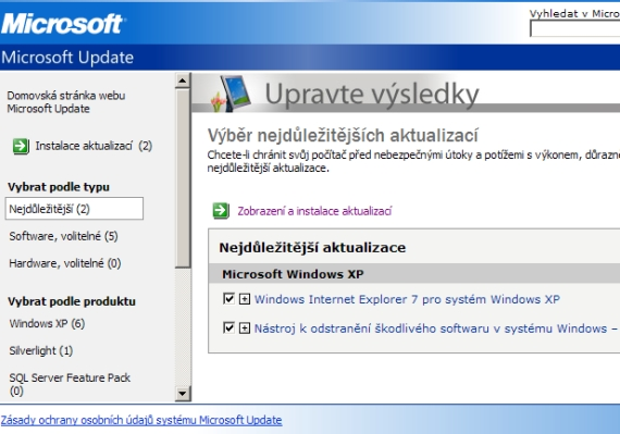 Windows XP SP3 - aktualizace