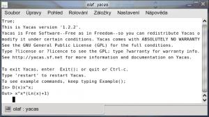 Yacas v konzoli v Linuxu