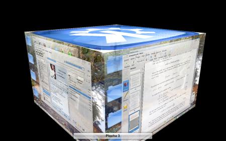 3D desktop, efekty KWin jsou opravdu svižné (systém openSUSE 11.1)