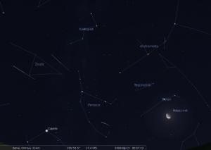 Mapka oblohy: souhvězdí Persea, kde se nachází tzv. radiant Perseid. 13. srpna 2009 po půlnoci. Pozorování bude rušit Měsíc