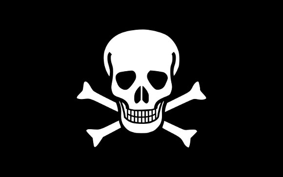 Pirátská vlajka (Wikimedia Commons, Oren neu dag)